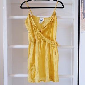 Anthropologie Mermaid Yellow Wrap Tank Dress